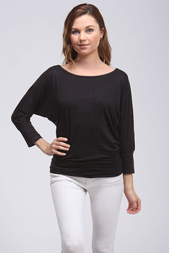 Elbow Length Sleeve Off the Shoulder Top - Black