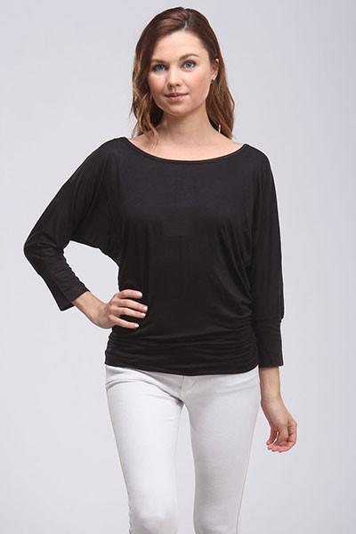 Elbow Length Sleeve Off the Shoulder Top - Black