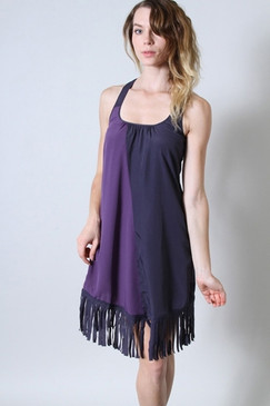 Esley Lightweight Dress with Fringe Bottom - Plum