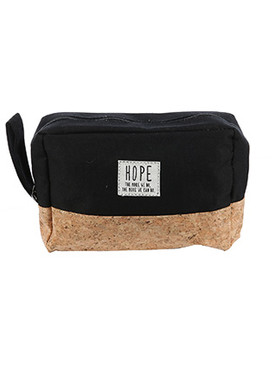 BAG ACCESSORY / TWO MATERIAL / MAKEUP POUCH / COTTON CANVAS / CORK / MESSAGE / HOPE / THE MORE WE DO / THE MORE WE CAN DO / ZIPPER / WRIST STRAP / WATER RESISTANCE LINING / ONE SIZE / 7 INCH WIDE / 5 INCH TALL / 2 INCH DEEP / NICKEL AND LEAD COMPLIANT