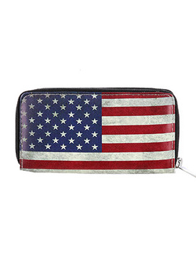 BAG ACCESSORY / AMERICAN FLAG PRINT / FAUX LEATHER CLUTCH WALLET / RED WHITE AND BLUE / STARS AND STRIPES / DOUBLE POCKET / ZIPPER / COIN POCKET / CASH POCKET / CREDIT CARD POCKET / ONE SIZE / 8 INCH WIDE / 4 INCH TALL / NICKEL AND LEAD COMPLIANT