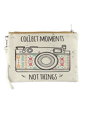 BAG ACCESSORY / CAMERA PRINT MESSAGE / VINYL WRIST WALLET / COLLECT MOMENTS NOT THINGS / CLUTCH / ZIPPER / REMOVABLE WRISTBAND / ONE SIZE / 10 INCH WIDE / 7 INCH TALL / NICKEL AND LEAD COMPLIANT
