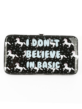 BAG ACCESSORY / UNICORN MESSAGE PRINT / VINYL FLAT WALLET / I DONT BELIEVE IN BASIC / CLUTCH / PHONE POCKET / CASH POCKET / CREDIT CARD POCKET / SNAP CLOSURE / ONE SIZE / 7 INCH WIDE / 4 INCH TALL / NICKEL AND LEAD COMPLIANT