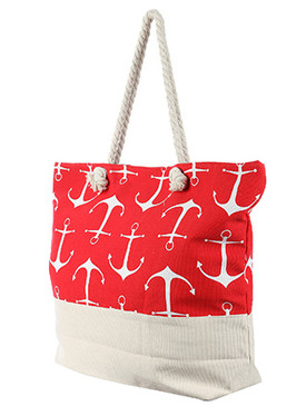BAG ACCESSORY / ANCHOR PRINT / JUMBO BEACH TOTE / ZIP CLOSURE / INTERIOR SLIP POCKET / INNER LINING / CANVAS COTTON FEEL / ONE SIZE / 23 INCH WIDE / 15 INCH TALL / 6 INCH DEEP / 7 INCH HANDLE DROP / 100 ACRYLIC / NICKEL AND LEAD COMPLIANT