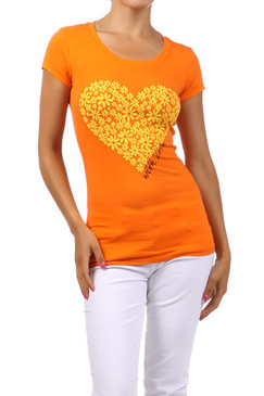 Flowered Heart Fitted T-Shirt - Orange