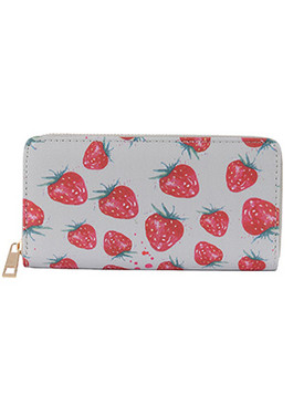 BAG ACCESSORY / STRAWBERRY PRINT / VINYL CLUTCH WALLET / ZIPPER / COIN POCKET / CASH POCKET / CREDIT CARD POCKET / ONE SIZE / 8 INCH WIDE / 4 INCH TALL / NICKEL AND LEAD COMPLIANT