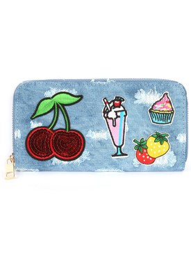 BAG ACCESSORY / PATCHED DENIM FABRIC / CLUTCH WALLET / DISTRESSED FABRIC / CHERRIES / MILKSHAKE / CUPCAKE / STRAWBERRIES / ZIPPER / COIN POCKET / CASH POCKET / CREDIT CARD POCKET / ONE SIZE / 7 1/2 INCH WIDE / 4 INCH TALL / NICKEL AND LEAD COMPLIANT