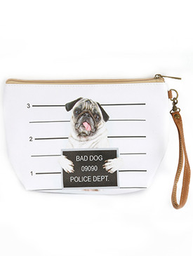 BAG ACCESSORY / BAD DOG PUG / VINYL WRIST WALLET / ZIPPER / REMOVABLE WRISTBAND / ONE SIZE / 9 INCH WIDE / 6 1/2 INCH TALL / NICKEL AND LEAD COMPLIANT