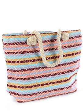 BAG ACCESSORY / STRIPE AZTEC PRINT / TOTE / ZIP CLOSURE / INTERIOR SLIP POCKET / INNER LINING / ONE SIZE / 18 INCH WIDE / 12 INCH TALL / 5 INCH DEEP / 8 INCH HANDLE DROP / 65% COTTON / 35% POLYESTER / NICKEL AND LEAD COMPLIANT