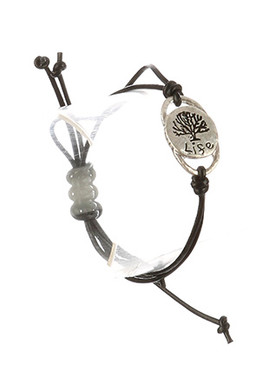 Bracelet / Matte Finish Metal / Adjustable Message / Life / Tree Etched / Hammered / Double Strand / Faux Rubber Cord / 2 Inch Diameter / 1/2 Inch Tall / Nickel And Lead Compliant