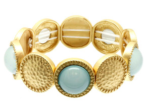 Glass Bead Hammered Metal Stretch Bracelet - Aqua