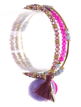 Bracelet / Pompom Charm / 3Pc Stretch / Message Metal Charm / You'Re Beautiful / Iridescent Glass / Metallic Bead / Tassel / 2 1/4 Inch Diameter / Nickel And Lead Compliant