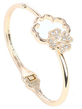 Bracelet / Pave Crystal Stone / Hinged Metal Bangle / Quatrefoil / Four Leaf Clover / Hook Closure / 2 3/8 Inch Diameter / 7/8 Inch Tall / Nickel And Lead Compliant