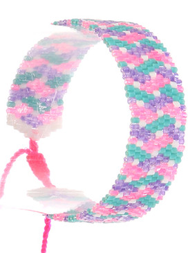 Bracelet / Patterned Iridescent Microbead / Adjustable / Tassel / 2 Inch Diameter / 3/4 Inch Tall / Nickel And Lead Compliant