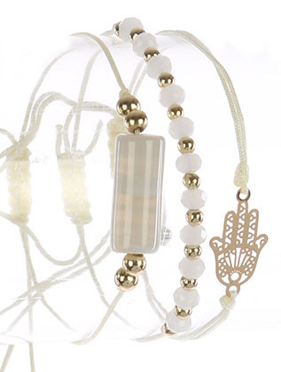 Bracelet / 3 Pc / Adjustable Cord / Cutout Metal Hamsa / Natural Stone / Iridescent Glass Bead / 2 Inch Diameter / 1/2 Inch Tall / Nickel And Lead Compliant