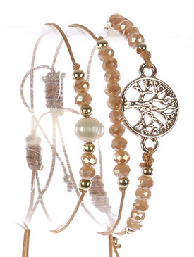 Bracelet / 3 Pc / Adjustable Cord / Tree Of Life / Cutout Metal / Pearl / Iridescent Glass Bead / 2 Inch Diameter / 1/2 Inch Tall / Nickel And Lead Compliant