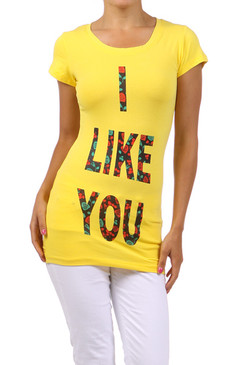I Like You Fitted T-Shirt - Yellow