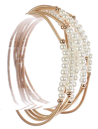 Bracelet / Mini Pearl Charm / 7 Pc Stretch / Coil Wire / 2 1/4 Inch Diameter / Nickel And Lead Compliant