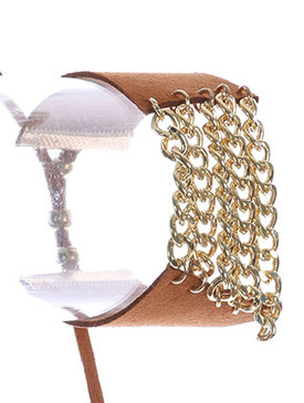 Bracelet / Layered Chain Center / Faux Suede Band / Adjustable / Metallic Bead / 2 1/8 Inch Diameter / 1 1/8 Inch Tall / Nickel And Lead Compliant