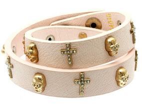 Leather Cross and Skull Bracelet - Pink