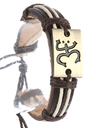 Bracelet / Faux Leather Band / Adjustable Cord / Metal Plate / Puerto Rican / Coqui Frog Symbol / Cord Wrapped / 2 1/8 Inch Diameter / 2/3 Inch Tall / Nickel And Lead Compliant