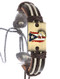 Bracelet / Faux Leather Band / Adjustable Cord / Message Metal Plate / Puerto Rico / Baseball / Coqui Frog Symbol / Cord Wrapped / 2 1/8 Inch Diameter / 2/3 Inch Tall / Nickel And Lead Compliant