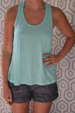 Loose Fit Round Neck Tank with Racer Back - Mint