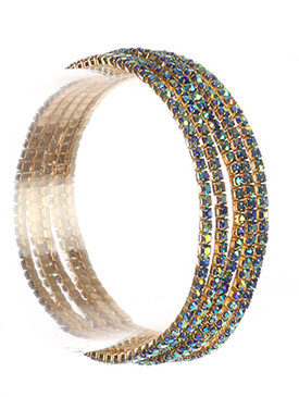 Bracelet / 5 Pc / Rhinestone Stretch / Metal Setting / 2 1/4 Inch Diameter / Nickel And Lead Compliant
