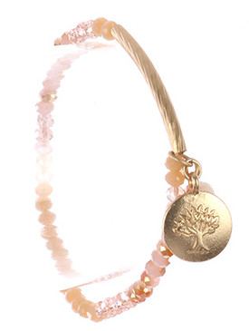 Bracelet / Tree Of Life Charm / Glass Bead Stretch / Matte Finish Metal / 2 1/4 Inch Diameter / 7/8 Inch Drop / Nickel And Lead Compliant