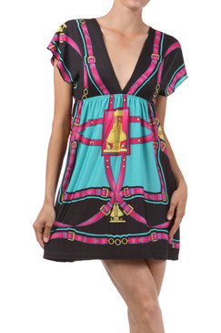 Multicolor Print V-Neck Dress with Low Back and Short Sleeves