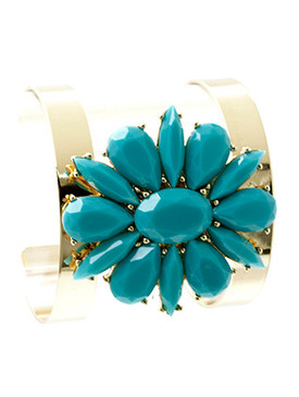 Bracelet / Faceted Lucite Stone / Floral Cuff / Neon / Metal Setting / 2 1/4 Inch Diameter / 2 Inch Tall / Nickel And Lead Compliant