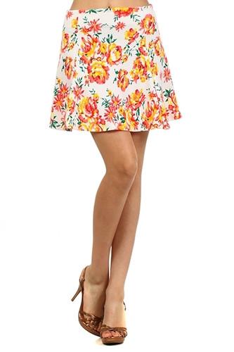 Neon Floral Print Skater Skirt - White