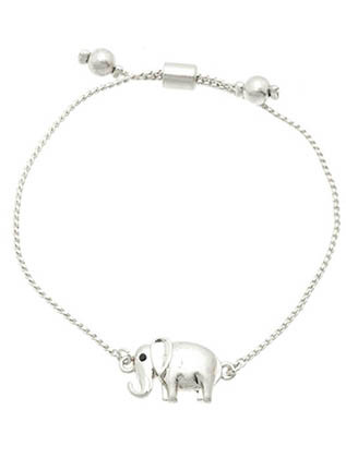 Bracelet / Metal Elephant / Adjustable / Homaica / Metallic Bead / Matte Finish / Serpentine Chain / 2 1/4 Inch Diameter / 1/2 Inch Tall / Nickle And Lead Compliant