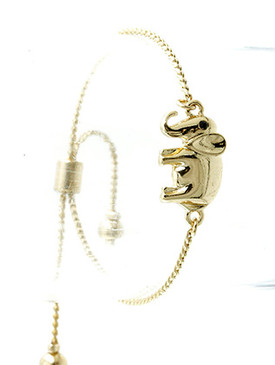 Bracelet / Metal Elephant / Adjustable / Homaica / Metallic Bead / Serpentine Chain / 2 1/4 Inch Diameter / 1/2 Inch Tall / Nickle And Lead Compliant