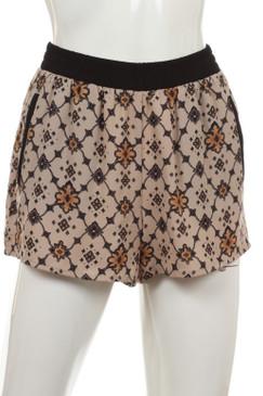 Pattern Print Shorts - Taupe