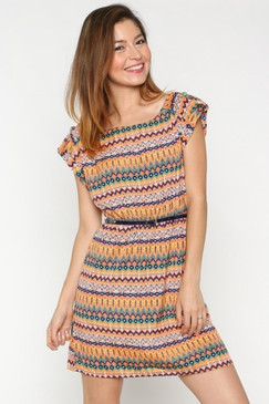 Pattern Stripe Dress with Leatherette Belt - Coral