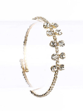 Bracelet / Pave Crystal Stone / Coil / Glass Stone / Adjustable / 2 1/2 Inch Diameter / Nickel And Lead Compliant
