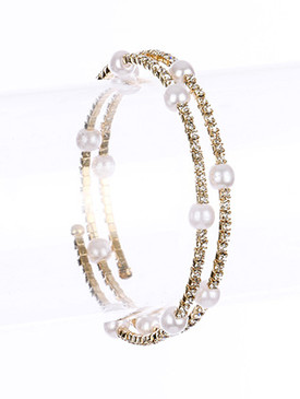 Bracelet / Pave Crystal Stone / Coil / Pearl / Adjustable / 2 1/2 Inch Diameter / Nickel And Lead Compliant