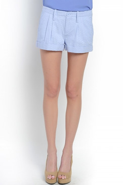 Pleated Waist & Cuffed Hem Shorts