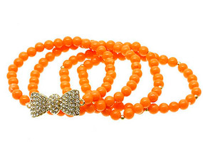 Bracelet / Bow / Stretch / Metal / Crystal Stone / Lucite Bead / 4 Pcs / 2 1/4 Inch Diameter / Nickel And Lead Compliant