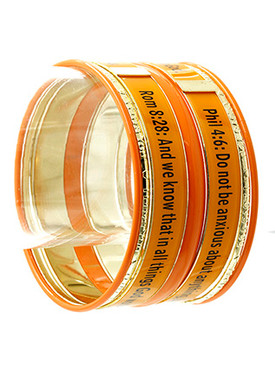 Bracelet / Bangle / Metal / Epoxy / Message / Religious / Phillippians 4:6 / 7 Pcs / 1 3/4 Inch Tall / Nickel And Lead Compliant
