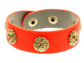 Bracelet / Leather / Clip / Adjustable / Animal / Lion / 3/4 Inch Tall / Nickel And Lead Compliant