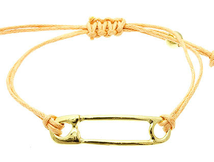 Bracelet / Metal Safety Pin / Adjustable / Braided Double Cord / 2 Inch Diameter / 1/4 Inch Tall / Nickel And Lead Compliant