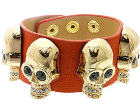 Bracelet / Clip / Leather / Metal / Crystal Stone / Skulls / 1 1/4 Inch Tall / Nickel And Lead Compliant / Halloween