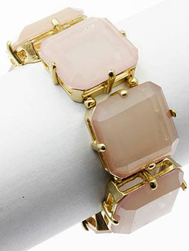 Bracelet / Faceted Homaica Stone / Stretch / Metal Setting / 2 1/4 Inch Diameter / 1 Inch Tall / Nickel And Lead Compliant