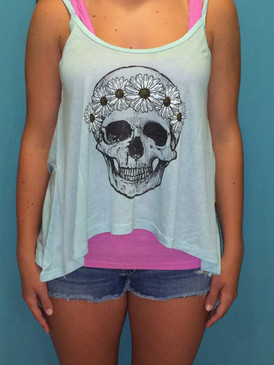 Skull Graphic Tank with Spaghetti Straps - Mint