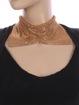NECKLACE / MESH CHAIN BLANKET / COLLAR CHOKER / 12 INCH LONG / 4 1/2 INCH DROP / NICKEL AND LEAD COMPLIANT