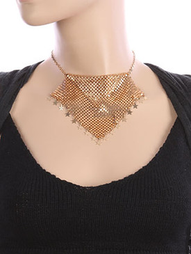 NECKLACE / MESH CHAIN BLANKET / BIB / METAL STAR SEQUIN CHARM / 16 INCH LONG / 4 INCH DROP / NICKEL AND LEAD COMPLIANT