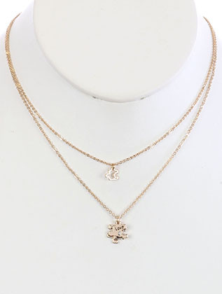 NECKLACE / 2PC LOVE PUZZLE / CHARM CHAIN / CUTOUT METAL / 16 INCH LONG / 1 1/2 INCH DROP / NICKEL AND LEAD COMPLIANT