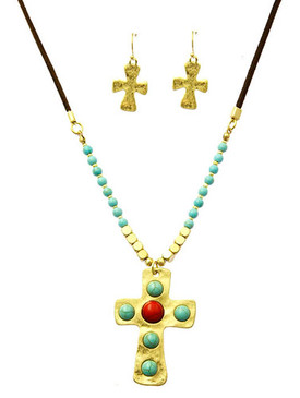 Southwestern Style Cross Necklace and Earring Set